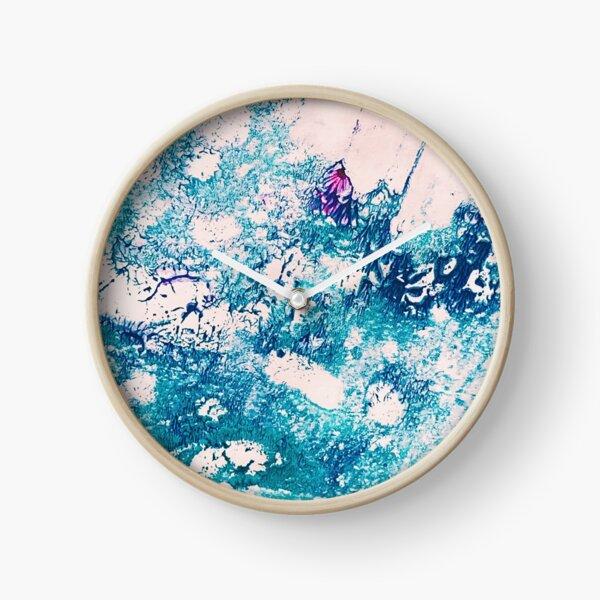 Rainbow Moonstone Crystal Ink & Acrylic Abstract Print Clock