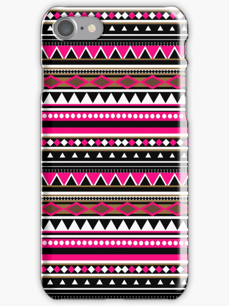 Pink Aztec Pattern iPhone & iPod Case by sirmaverick