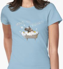 Splish Splash, Rhino Taking a Bath! Women's Fitted T-Shirt