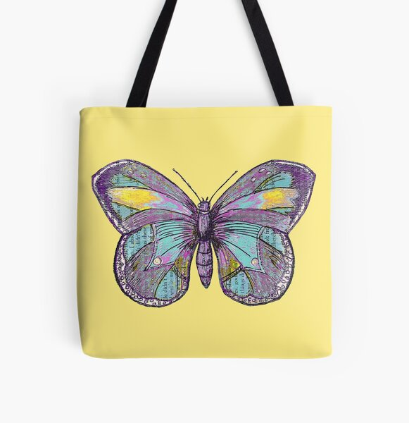 Vintage Butterfly All Over Print Tote Bag