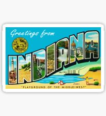 Greetings From Indiana Vintage Postcard Sticker Sticker