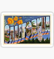 Greetings From California Vintage Postcard Sticker Sticker