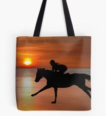 silhouette of a horse and rider galloping on beach Tote Bag