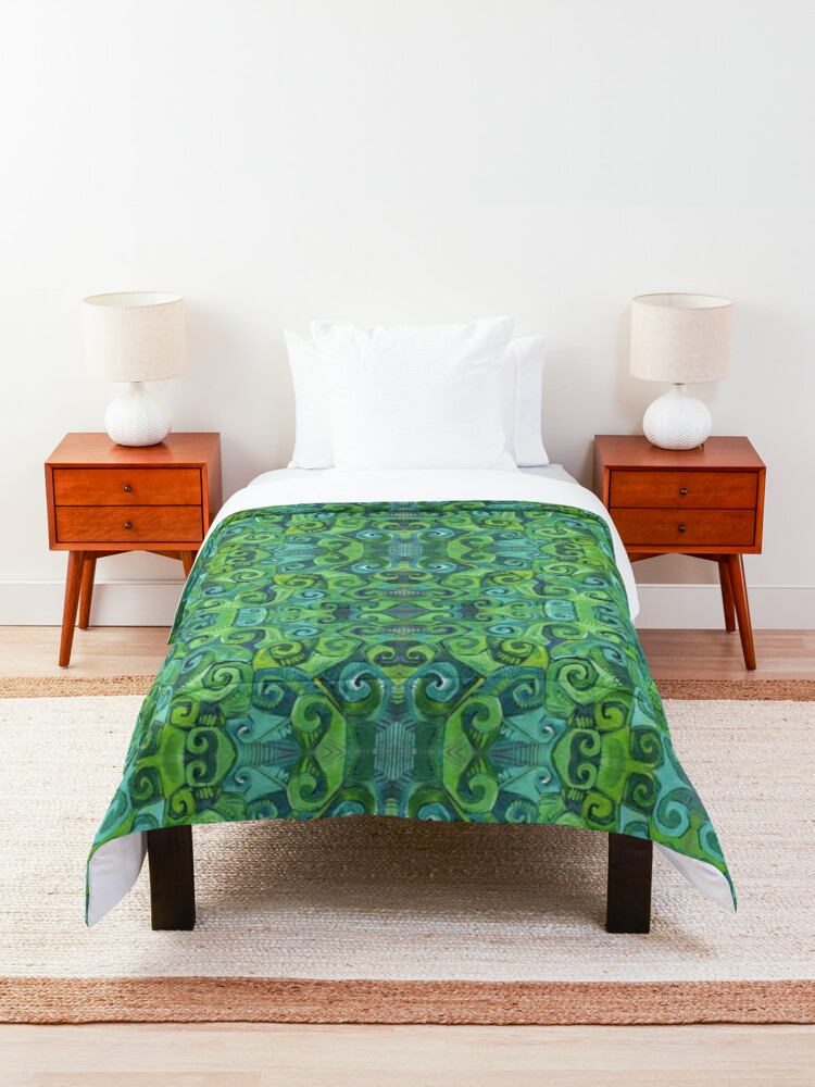 Alternate view of Green Swirls Abstract Painting - 2016 Comforter