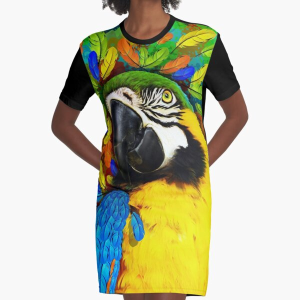Gold and Blue Macaw Parrot Fantasy Graphic T-Shirt Dress