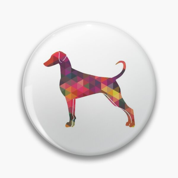 Doberman Pinscher - Natural Ears Dog Breed Geometric Pattern Silhouette Multi Pin