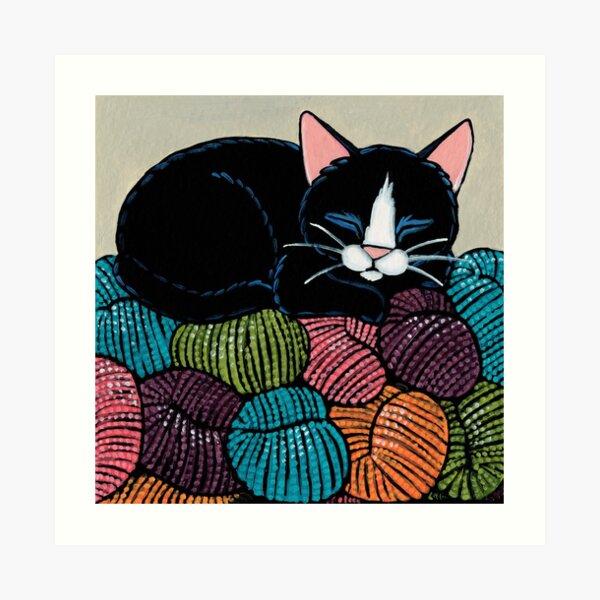 Cat Asleep on a Yarn Mountain Art Print