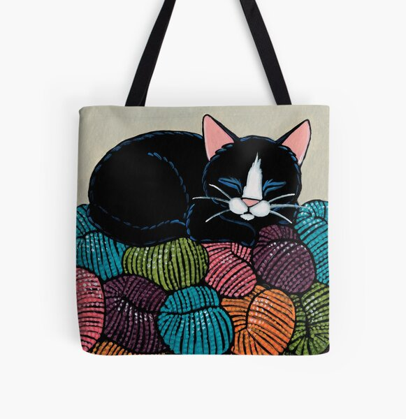 Cat Asleep on a Yarn Mountain All Over Print Tote Bag