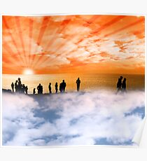 silhouette of people on the cliff edge above clouds Poster