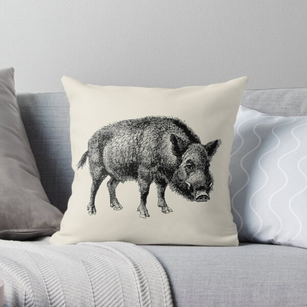 Vintage Wild Boar Throw Pillow