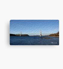 Tacoma Narrows Bridge Tradigital Photo Painting Canvas Print