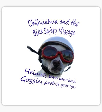 Chihuahua and the Bike Safety Message --New and Improved Tee Sticker