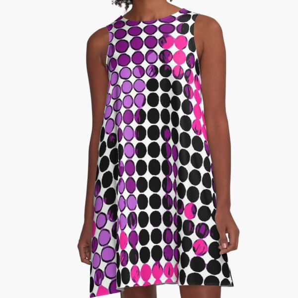 circle pattern graffiti drawing abstract in purple pink black A-Line Dress