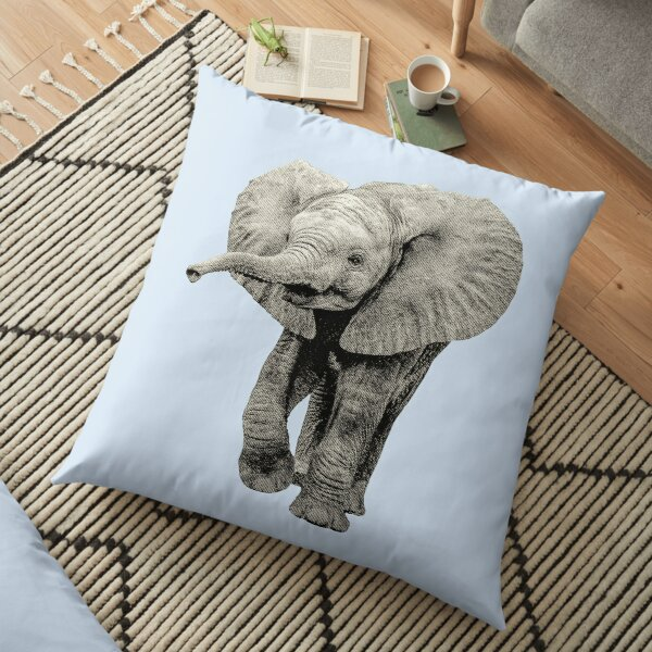 Cute Baby Elephant Picture Floor Pillow