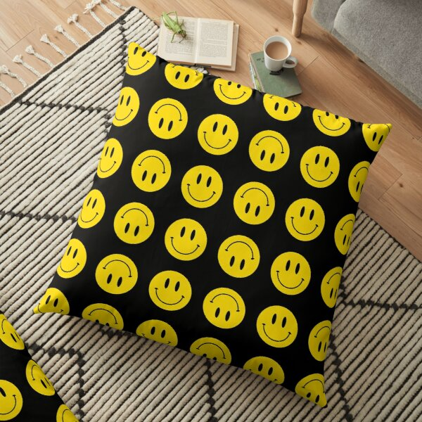 Up and Down | Happy Face | Black | Smiley |  Floor Pillow