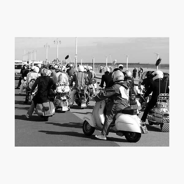 Mods ready for a rideout in Brighton. Photographic Print