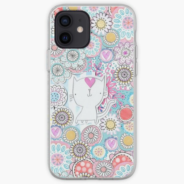 White cats hiding in the flowers iPhone Soft Case