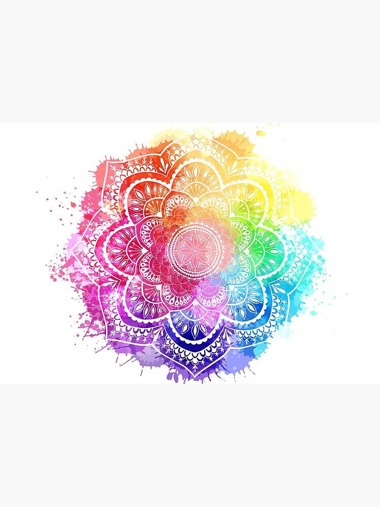 Watercolor Splash Mandala white background by Talshiar