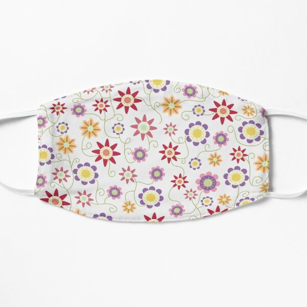 Flower Repeat on White Ground Flat Mask