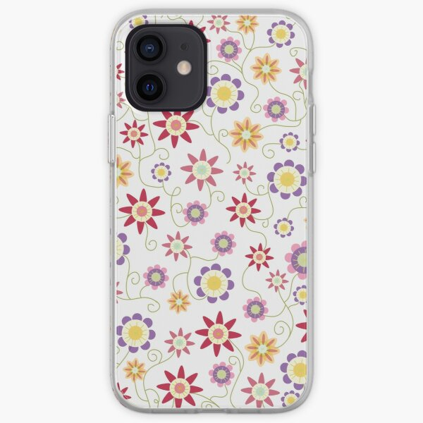 Flower Repeat on White Ground iPhone Soft Case