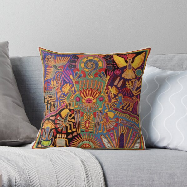 Huichol Mexican Heritage Throw Pillow