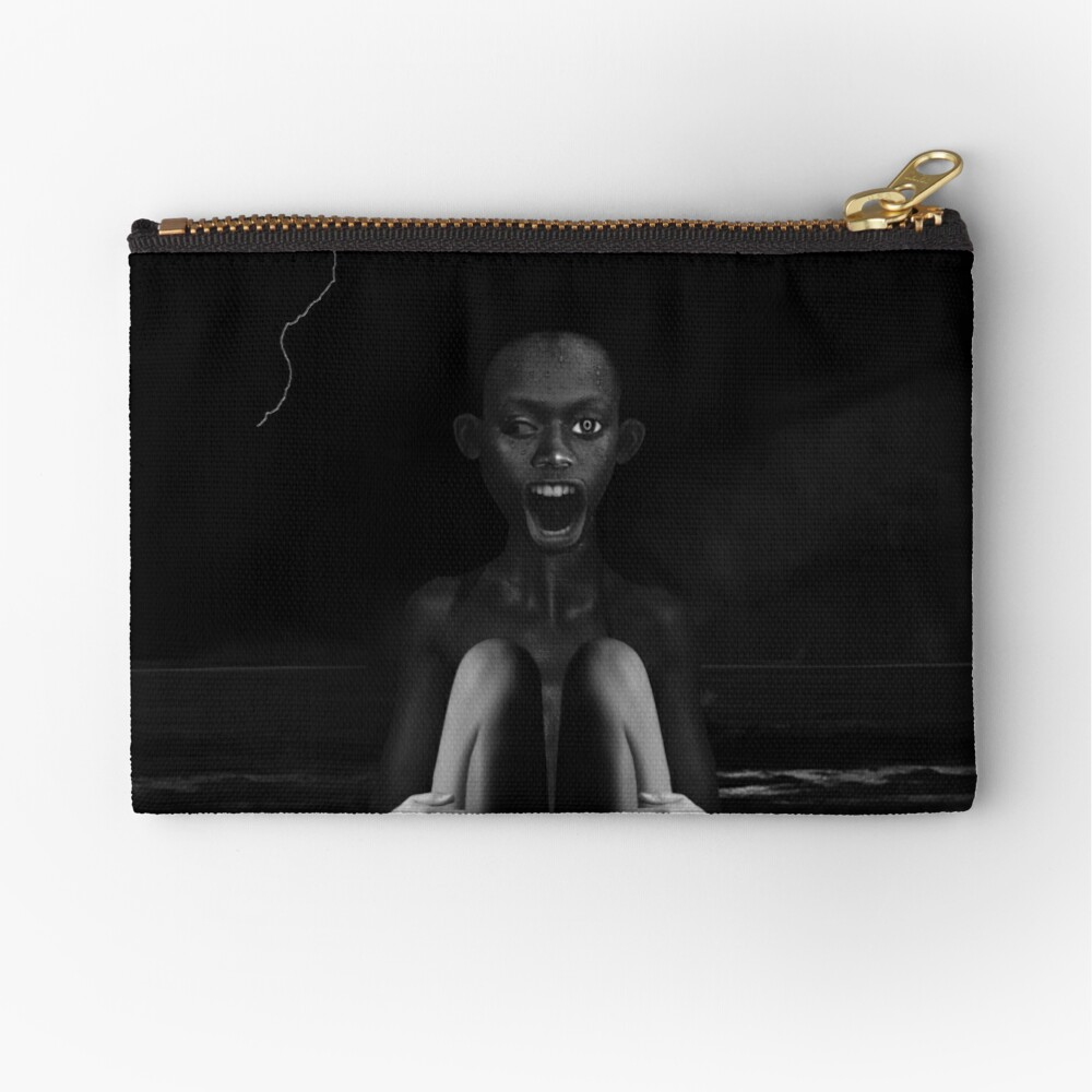 Deep Dark - collage art, metamorphosis, black and white Zipper Pouch