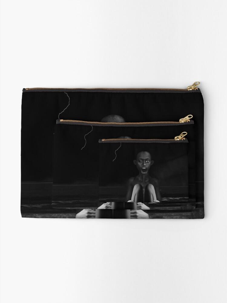 Alternate view of Deep Dark - collage art, metamorphosis, black and white Zipper Pouch
