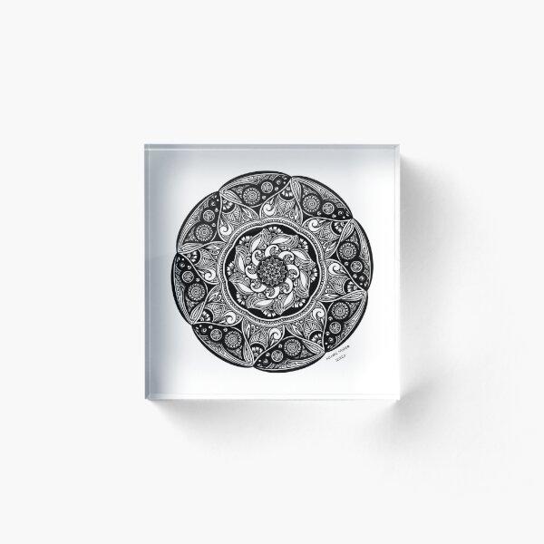 Black and White Floral Mandala Design Acrylic Block