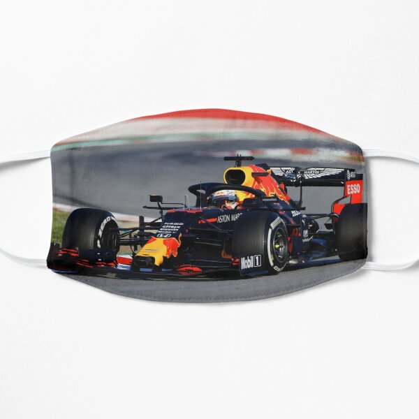 Max Verstappen in the 2020 F1 car over a kerb stone Mask