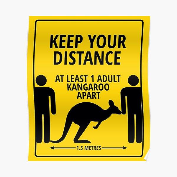 Please Keep At Least 1 Kangaroo Apart Poster