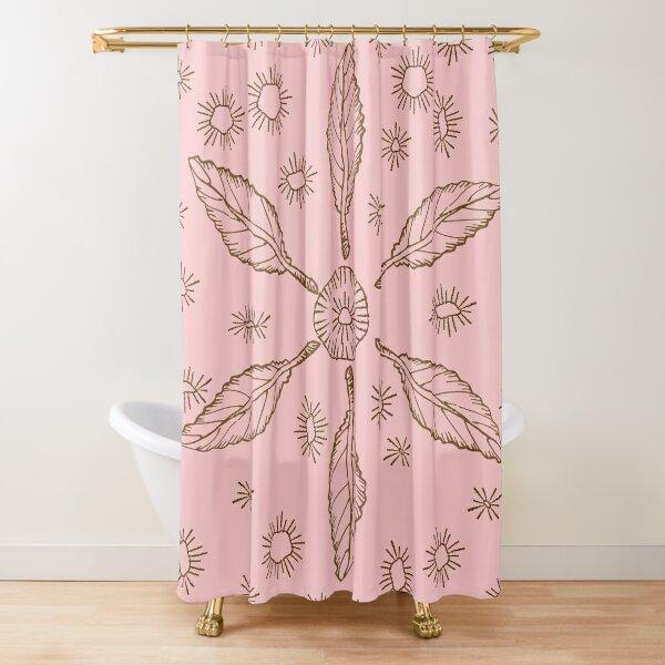 Doodle Leaf Pattern in Pink Shower Curtain