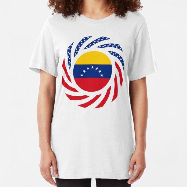 Venezuelan American Multinational Patriot Flag Series (7 Stars) Slim Fit T-Shirt