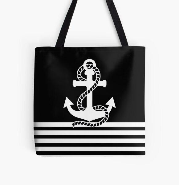 Nautical black white stripes and black white anchors All Over Print Tote Bag