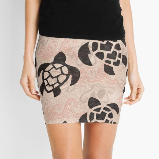 Polynesian Turtle Tapa Print Mini Skirt