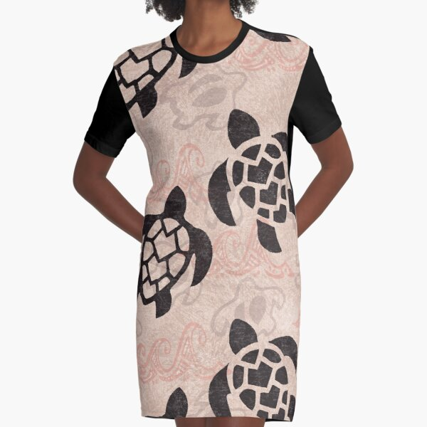 Polynesian Turtle Tapa Print Graphic T-Shirt Dress