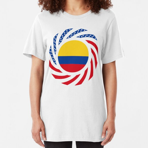 Colombian American Multinational Patriot Flag Series Slim Fit T-Shirt