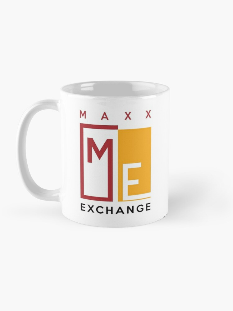 Alternate view of Maxx Exchange Brand Crimson and Gold Emblem Logo. Mug