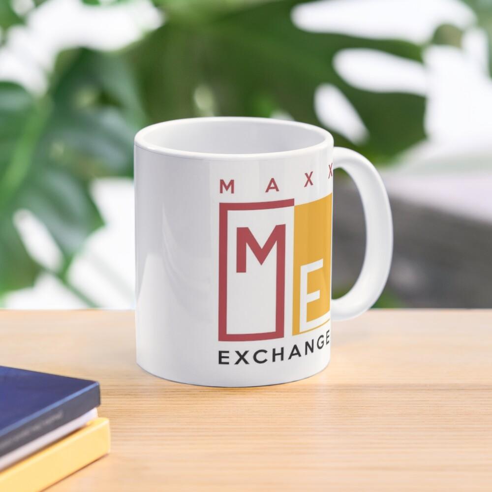 Maxx Exchange Brand Crimson and Gold Emblem Logo. Mug