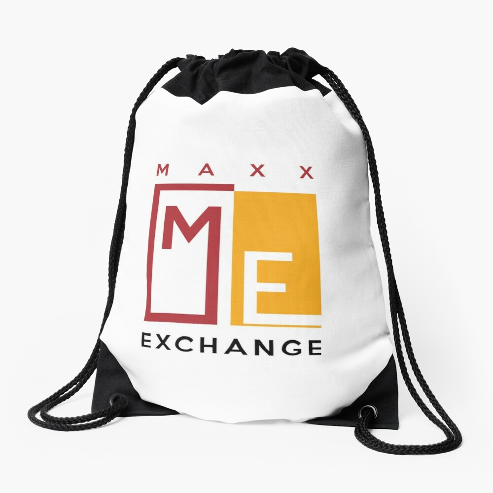 Maxx Exchange, Crimson and Gold Logo Design. Drawstring Bag