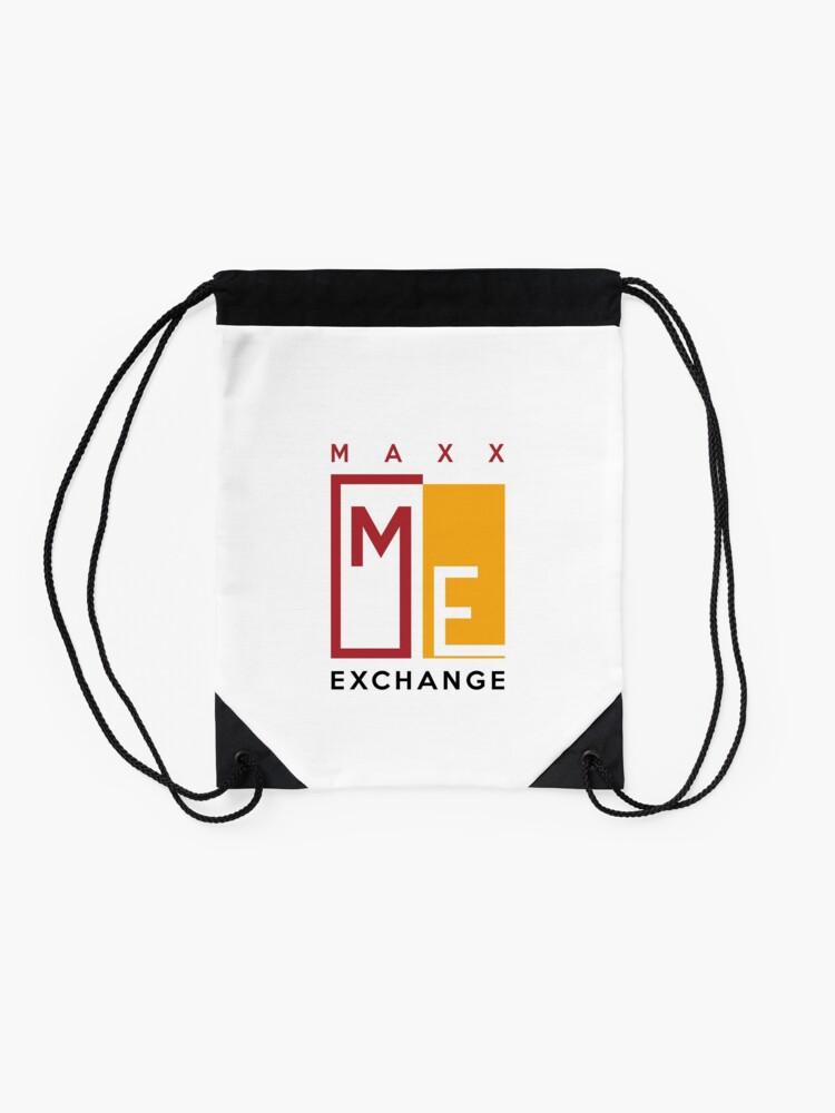 Alternate view of Maxx Exchange, Crimson and Gold Logo Design. Drawstring Bag