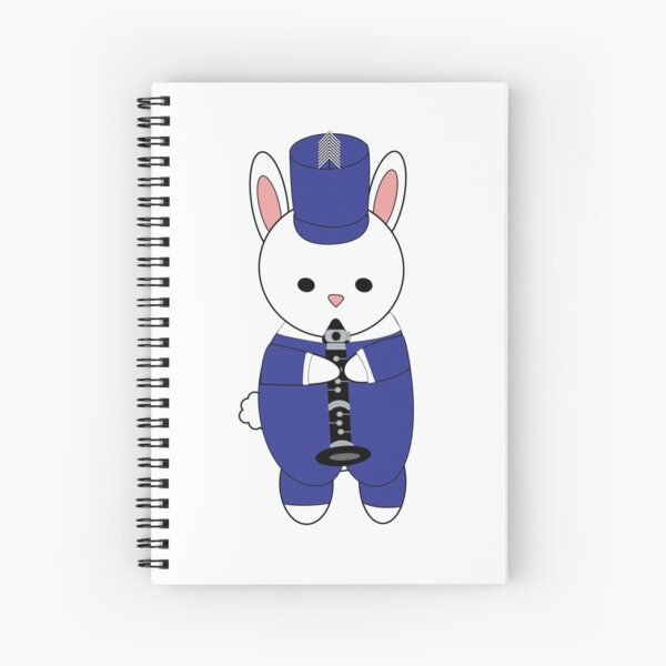 Clarinet Marching Band Bunny Rabbit Blue White Spiral Notebook