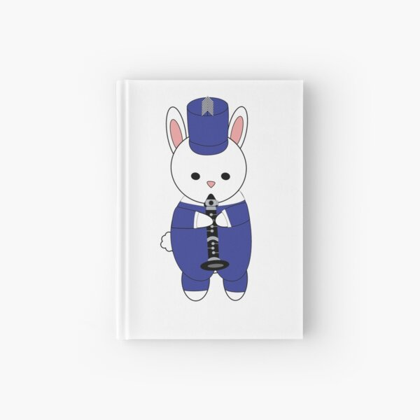 Clarinet Marching Band Bunny Rabbit Blue White Hardcover Journal