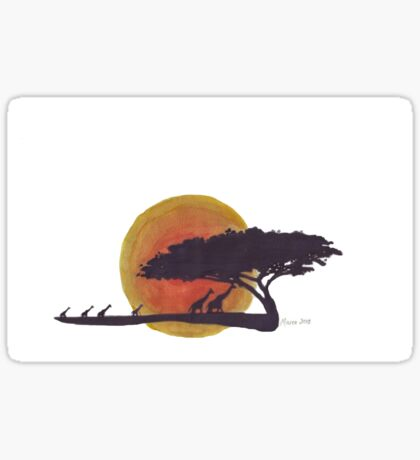 African Sunset silhouettes Sticker