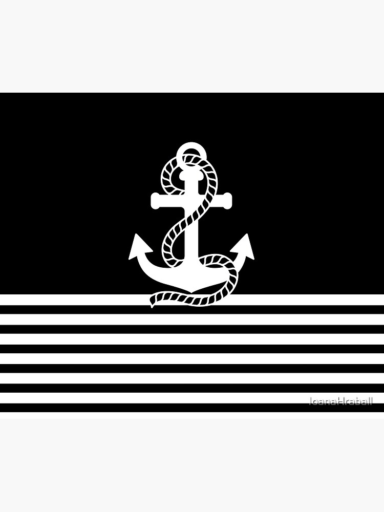 Nautical black white stripes and black white anchors by IoanaHraball