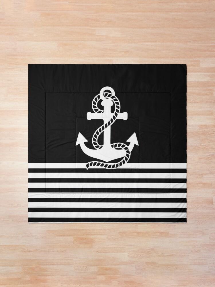 Alternate view of Nautical black white stripes and black white anchors Comforter