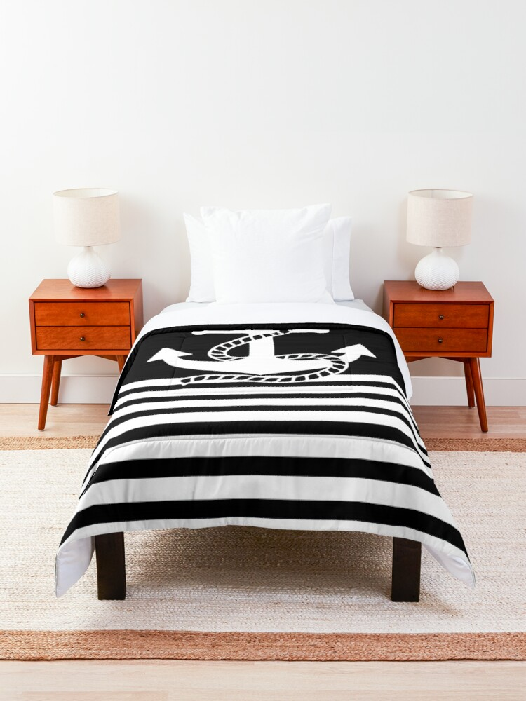 Alternate view of Nautical black white stripes and black white anchors Comforter