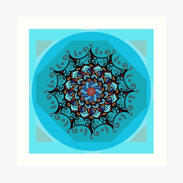 Mandala spring blue Art Print