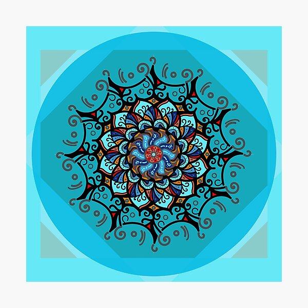 Mandala spring blue Lámina fotográfica