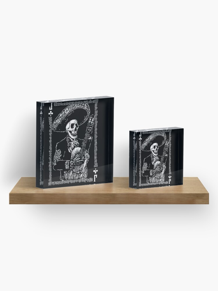 Alternate view of Day of the Dead Jack of Clubs  Acrylic Block