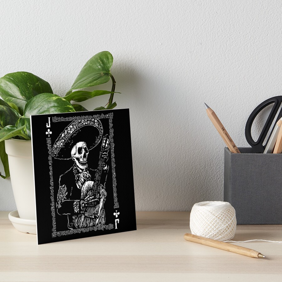 Day of the Dead Jack of Clubs  Art Board Print